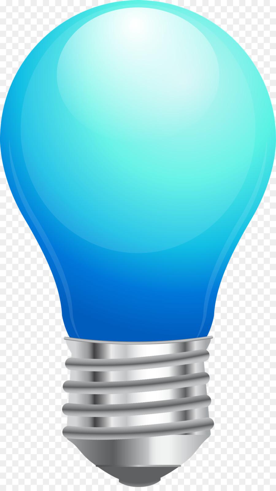 Incandescent Light Bulb Lamp Blue Clip Art