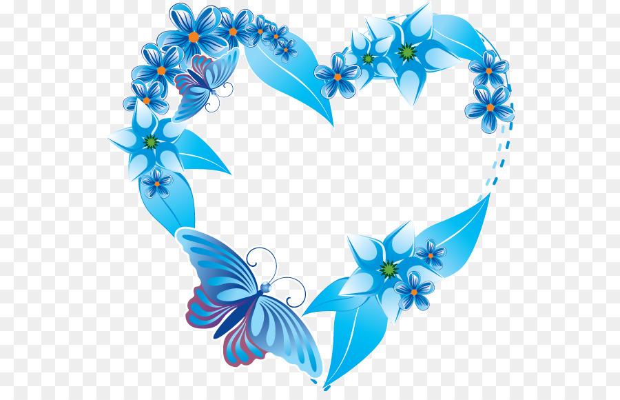 Herz-Blaue Blume-clipart - Hochzeit Rahmen png herunterladen - 595 ...