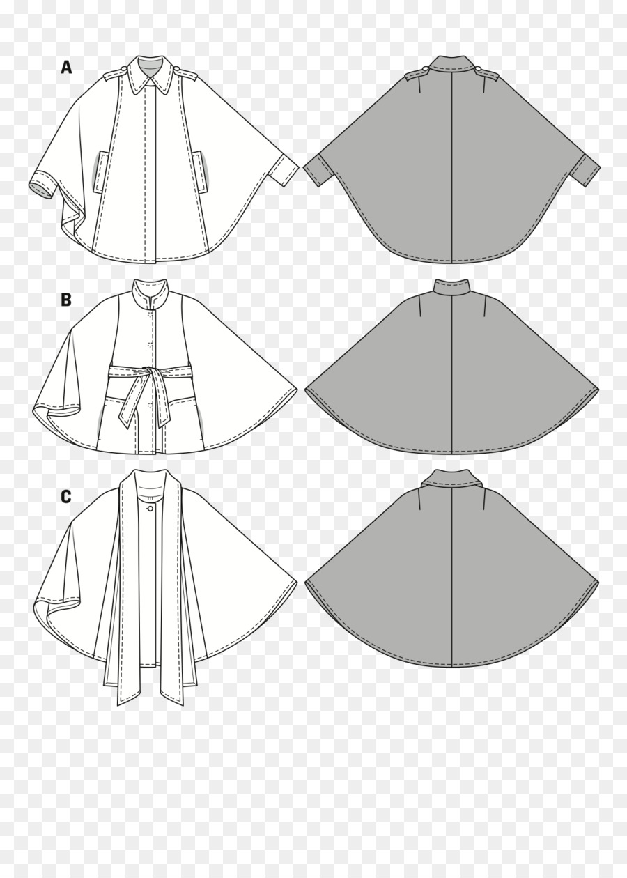 Hoodie Burda Style Cape Sewing Pattern - sewing needle png download ...