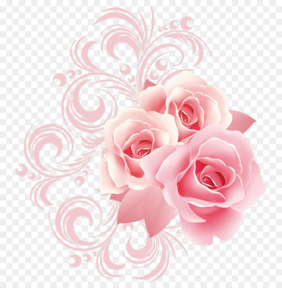 Rose Flower Pink Clip Art Pink Flower Border Png Download 800