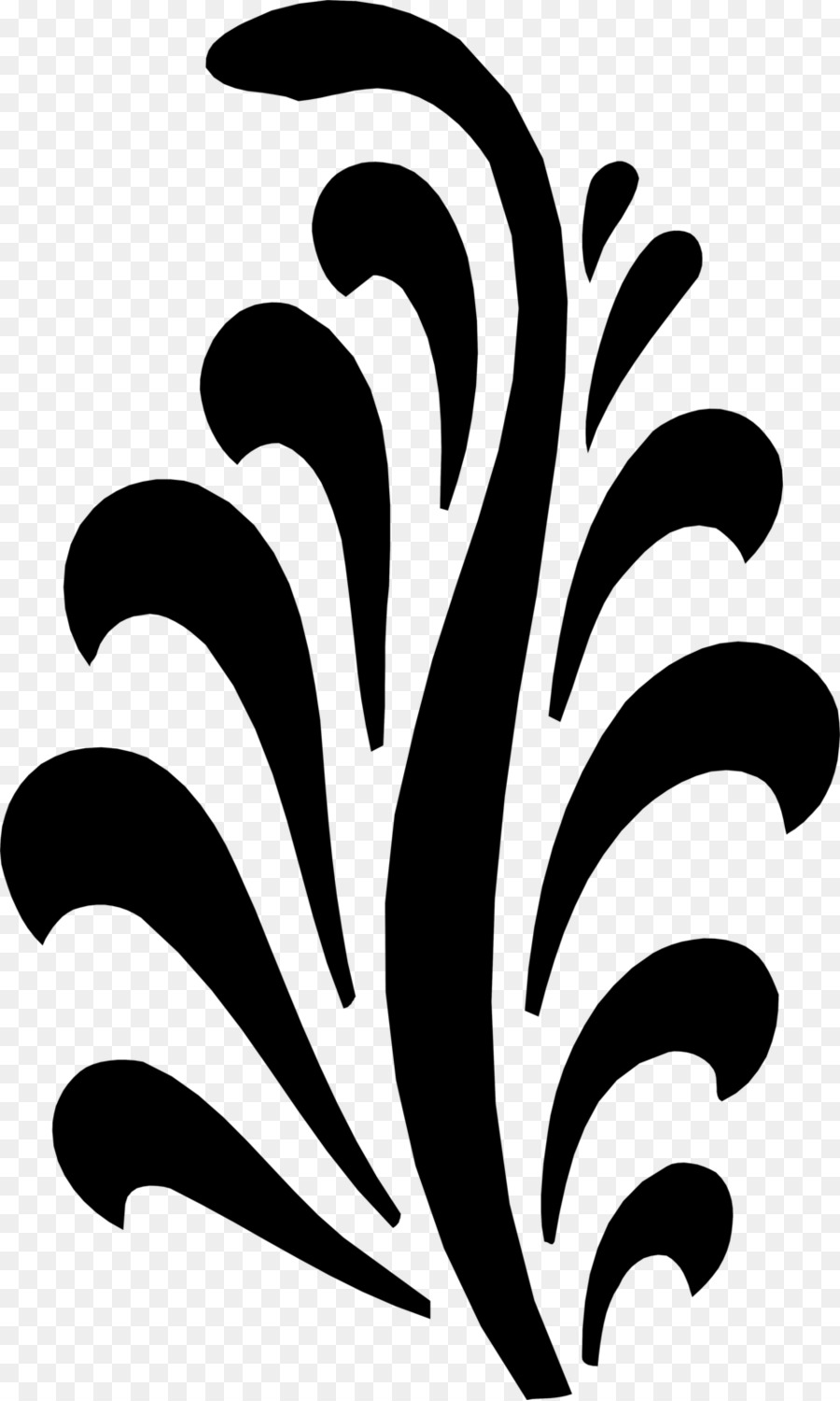 Stencil black and white art plant flower png