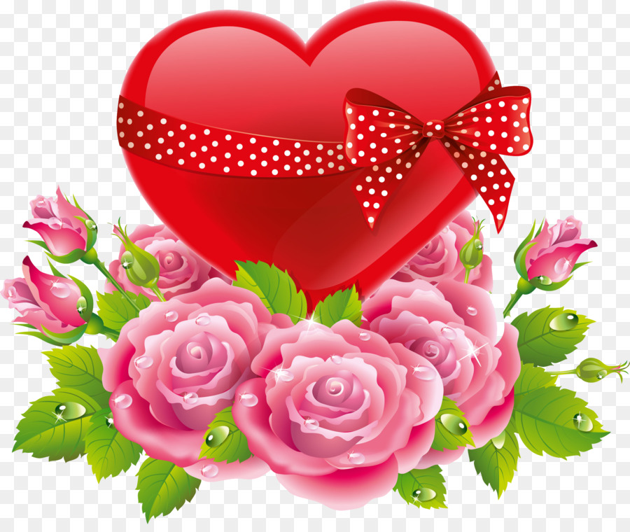 Heart Flower Love Rose Valentines Day Lovers Png Download 2676
