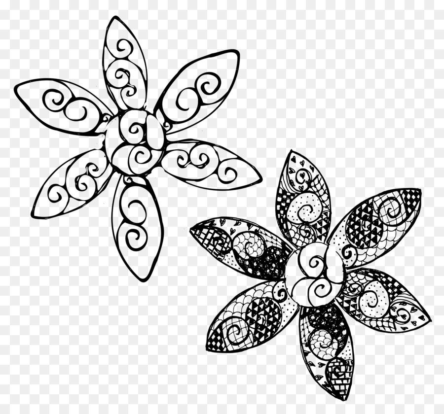 Doodle Flor libro para Colorear, Dibujo de Patrón - garabatos png ...