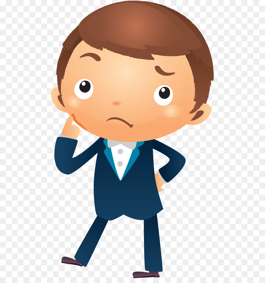 Cartoon Businessperson Royalty-free Clip art - thinking man png ... for person thinking animation  568zmd