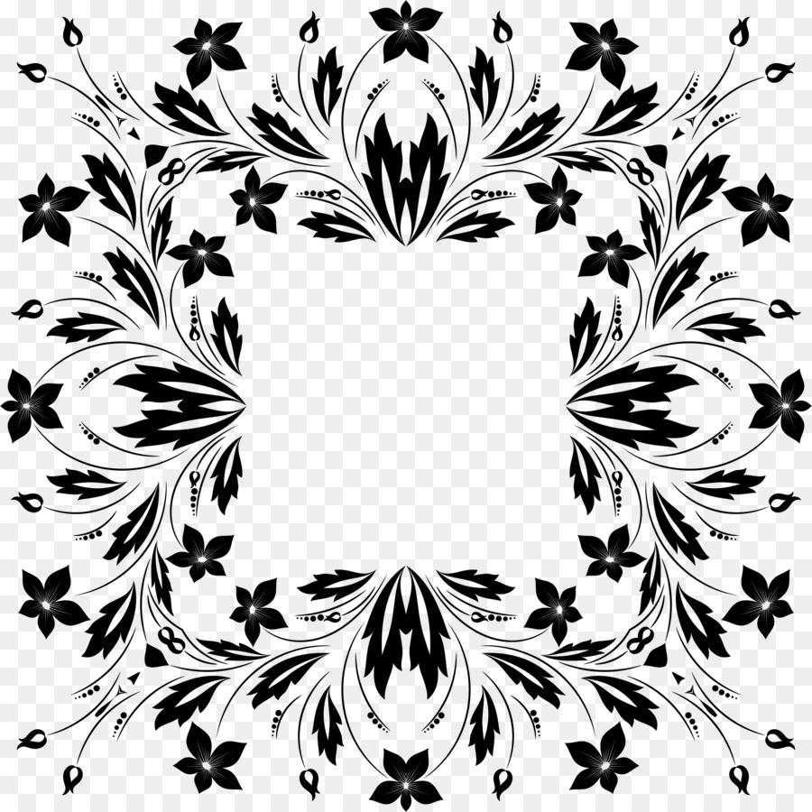 Flower Floral Design Black And White Clip Art Cdr Png Download