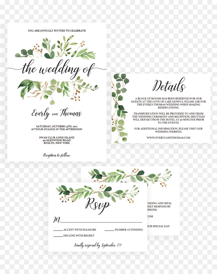 Wedding invitation Green wedding Watercolor painting Convite ...