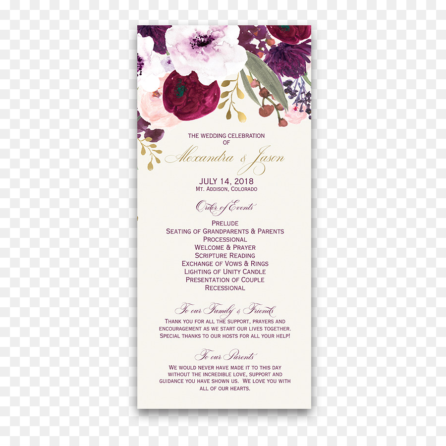 Wedding Invitation Flower Purple Pink Lilac Bohemian Png Download