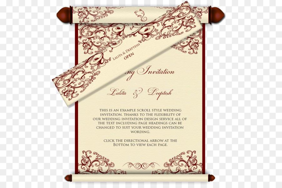 Wedding invitation India Scroll Hindu wedding - wedding card png ...