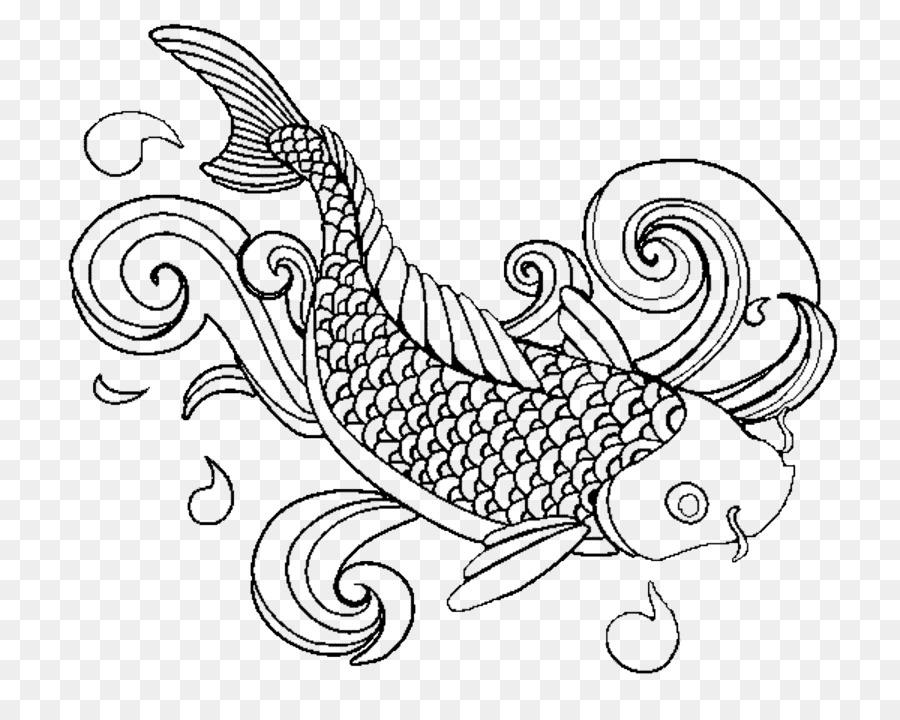 Koi Coloring Book Adult Fish Drawing