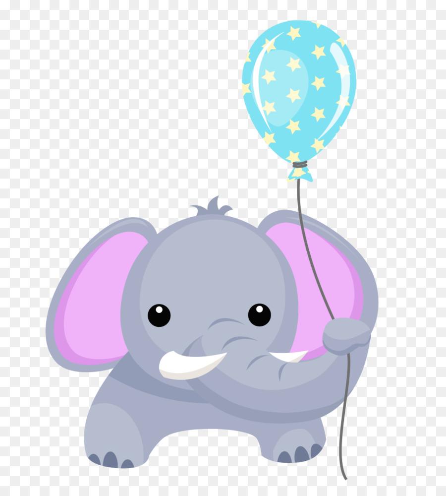 Elephant Balloon Birthday Greeting Note Cards Clip Art Cute
