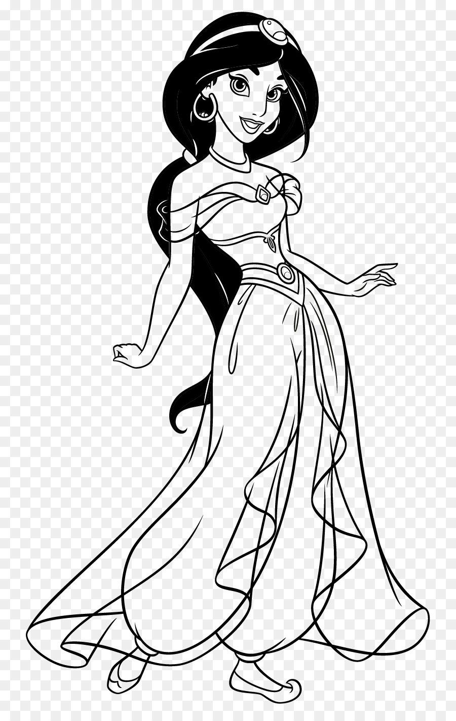 La princesa Jasmine libro para Colorear, Dibujo de Princesa de ...
