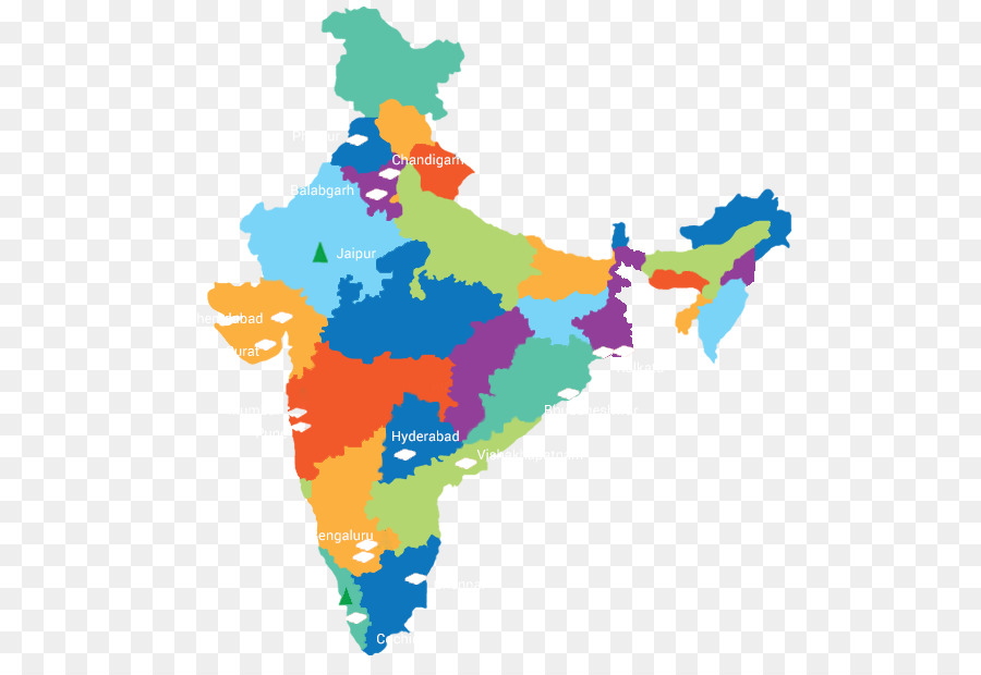 Amazing States And Territories Of India Vector Map   India