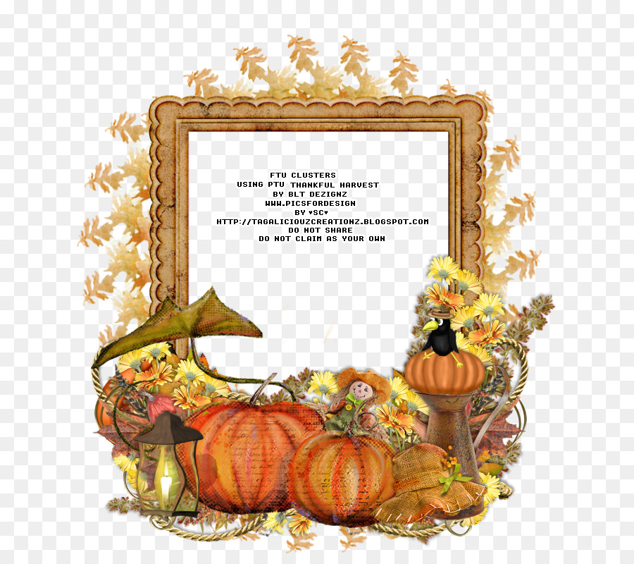 Thanksgiving Pumpkin Picture Frames Flower Harvest Png Download