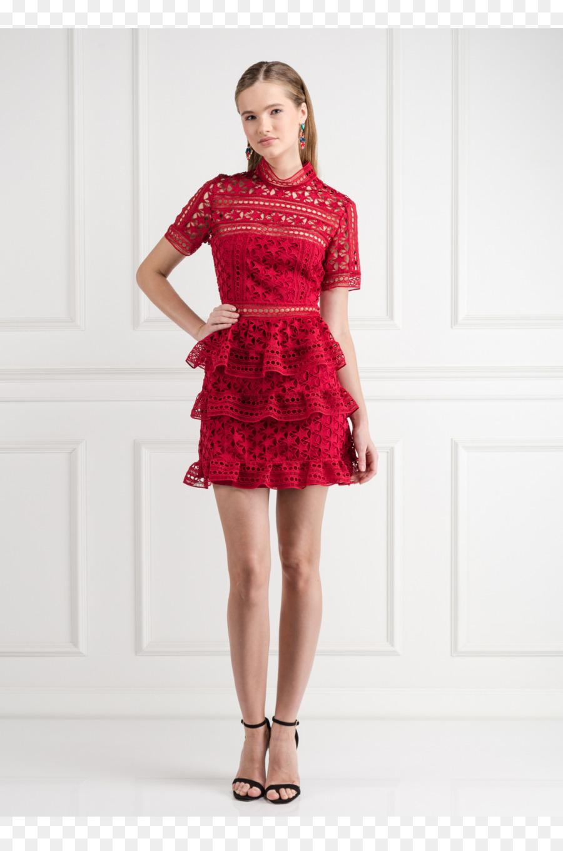 Vestido de cóctel desfile de Moda de Alta costura - rojo de encaje ...