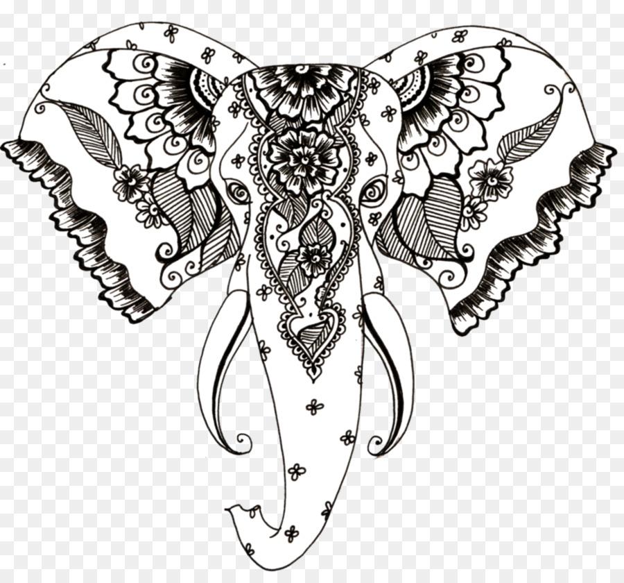 El elefante africano Tatuaje de Henna Dibujo - elefante motivo 931 ...