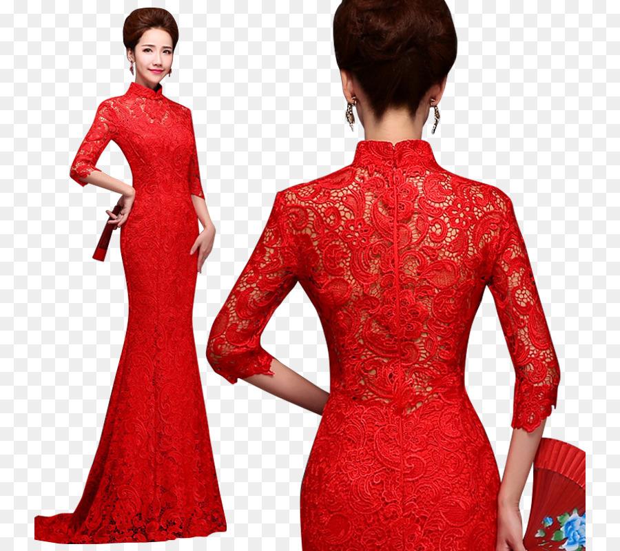Wedding Dress Sleeve Cheongsam Mandarin Collar Red Lace Png