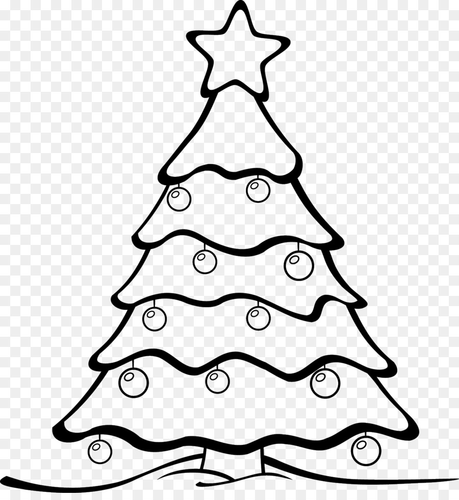 Christmas Tree Drawing Line Art Clip Art Coloring Png Download