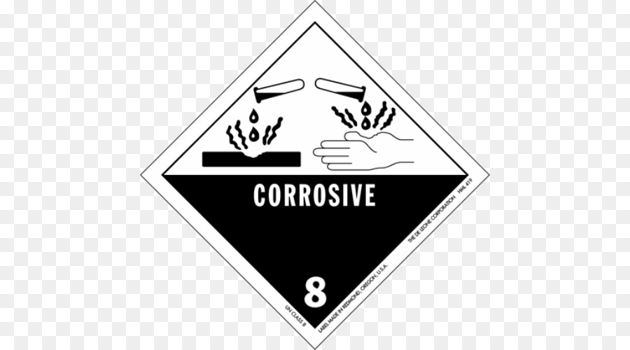 Hazmat Class 8 Corrosive Substances Label Dangerous Goods Placard