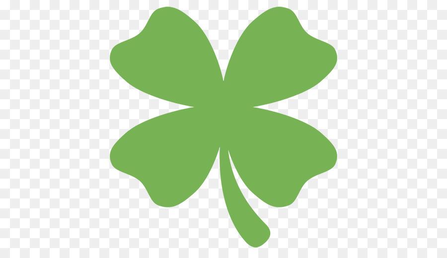 Emoji Four Leaf Clover Text Messaging Sms Symbol Four Leaf Clover