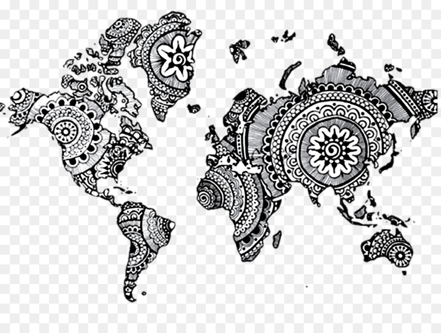 World Map Mandala Drawing Henna Png Download Free - Mandala map of the world