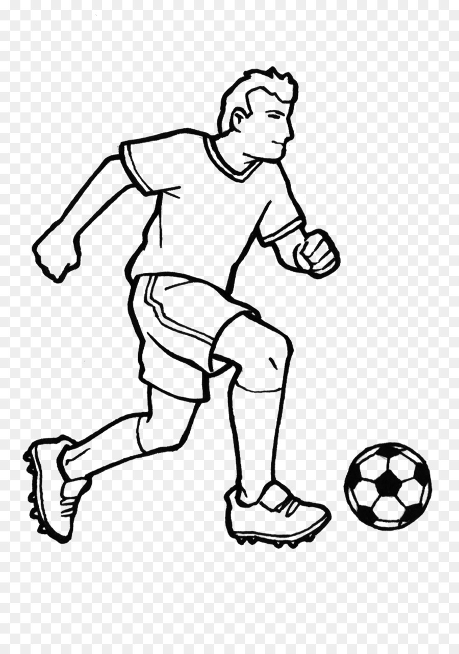 Football Coloring book Black and white Sport - footballer png ...