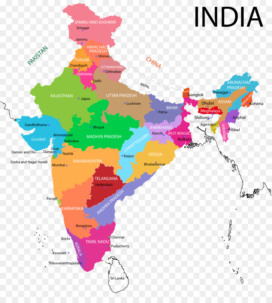 States and territories of India Map - india map png download - 3638 ...