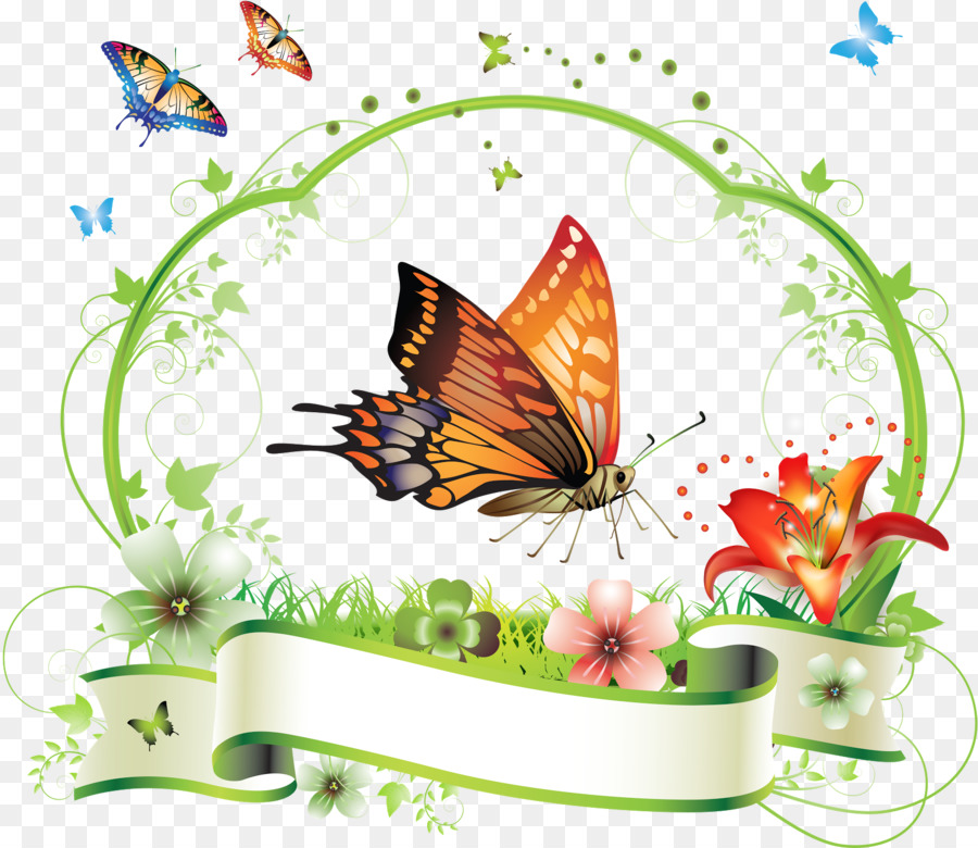 Butterfly Flower Floral design Clip art - butterfly frame png ...