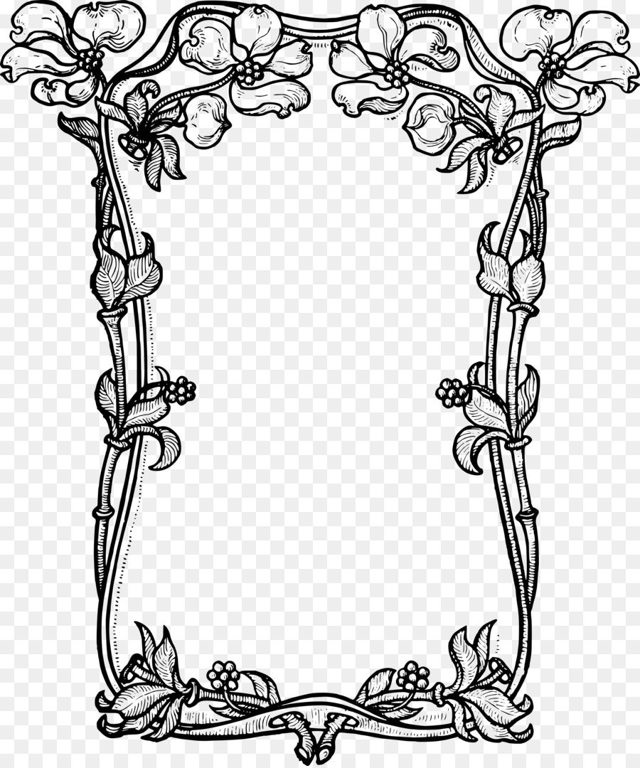 Picture Frames Flower Black And White Clip Art Vector Borders Png