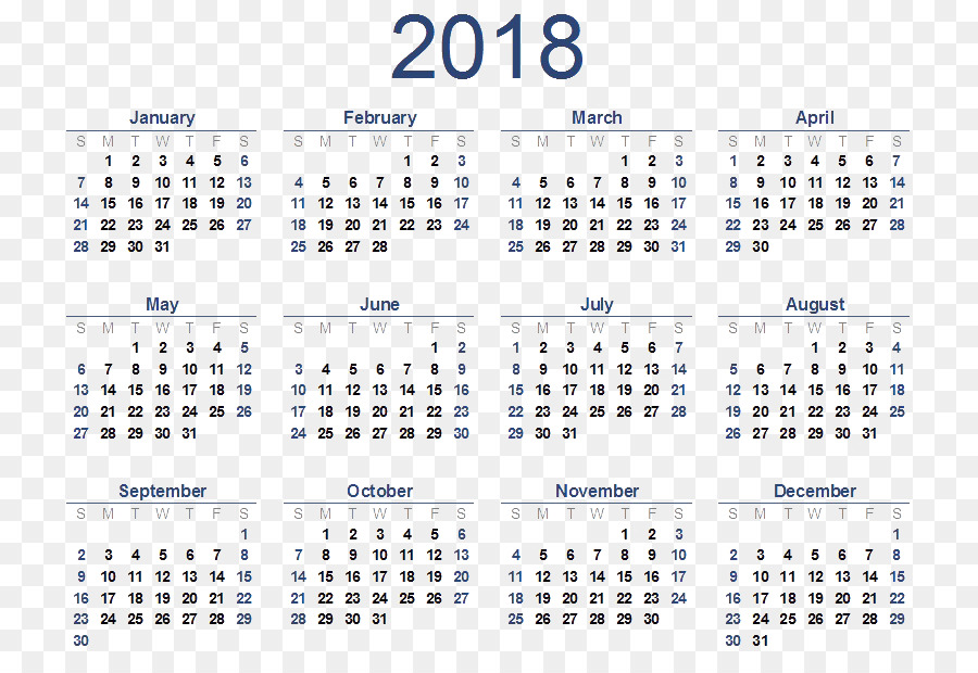 Online Calendar Template Year Time Calendar 2018 Png Download