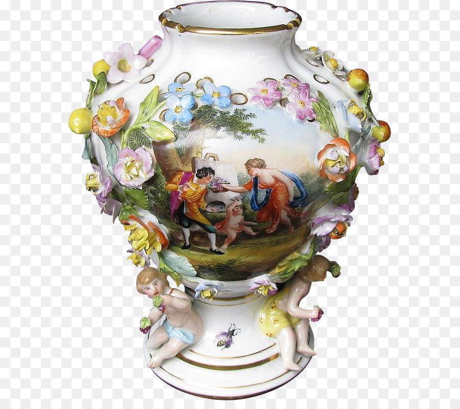 Dresden Jingdezhen Vase Porcelain Ceramic Hand Painted Flowers Png
