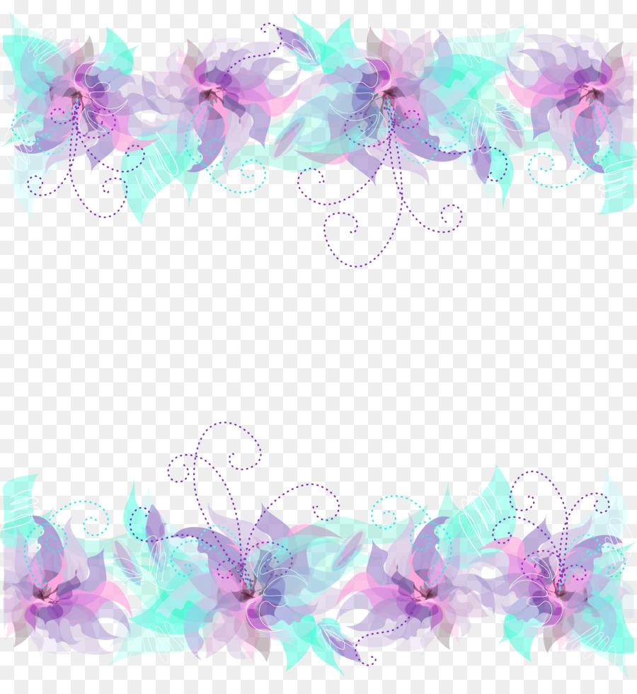 Flower Purple Blue Clip Art Purple Frame Png Download 17921933