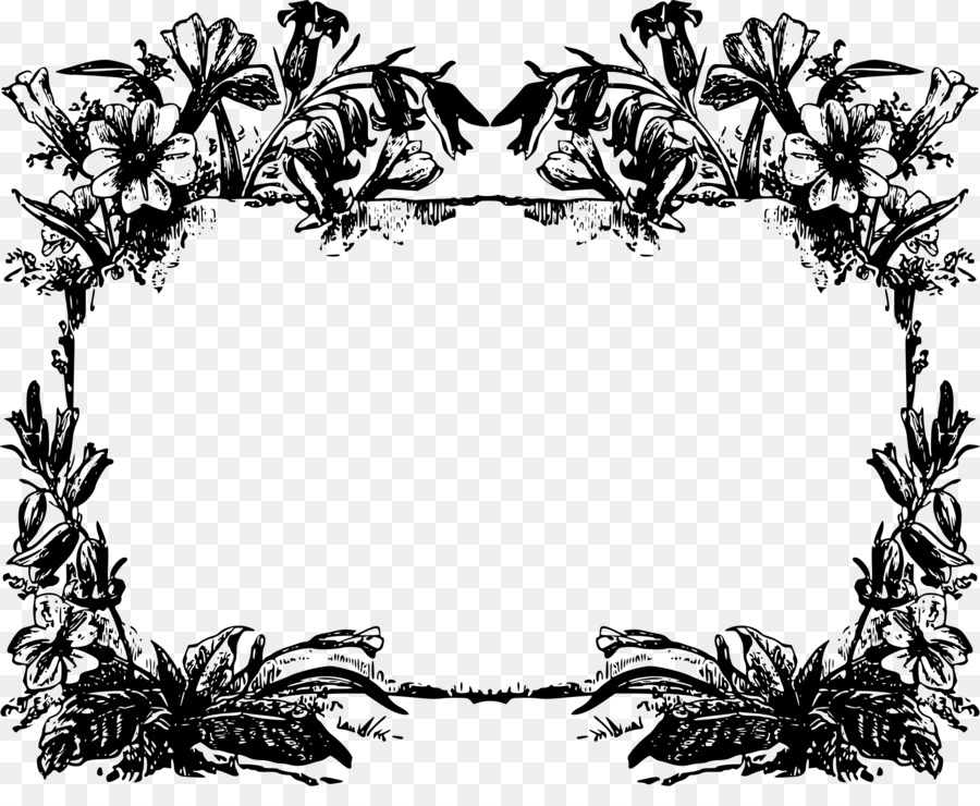 Picture Frames Black and white Clip art - ornate png download - 2400 ...