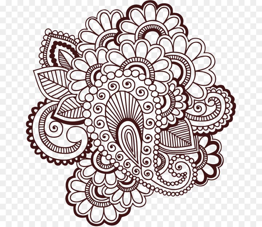 Henna Mehndi Gambar Clip Art Tato Unduh Garis Seni Bunga Seni