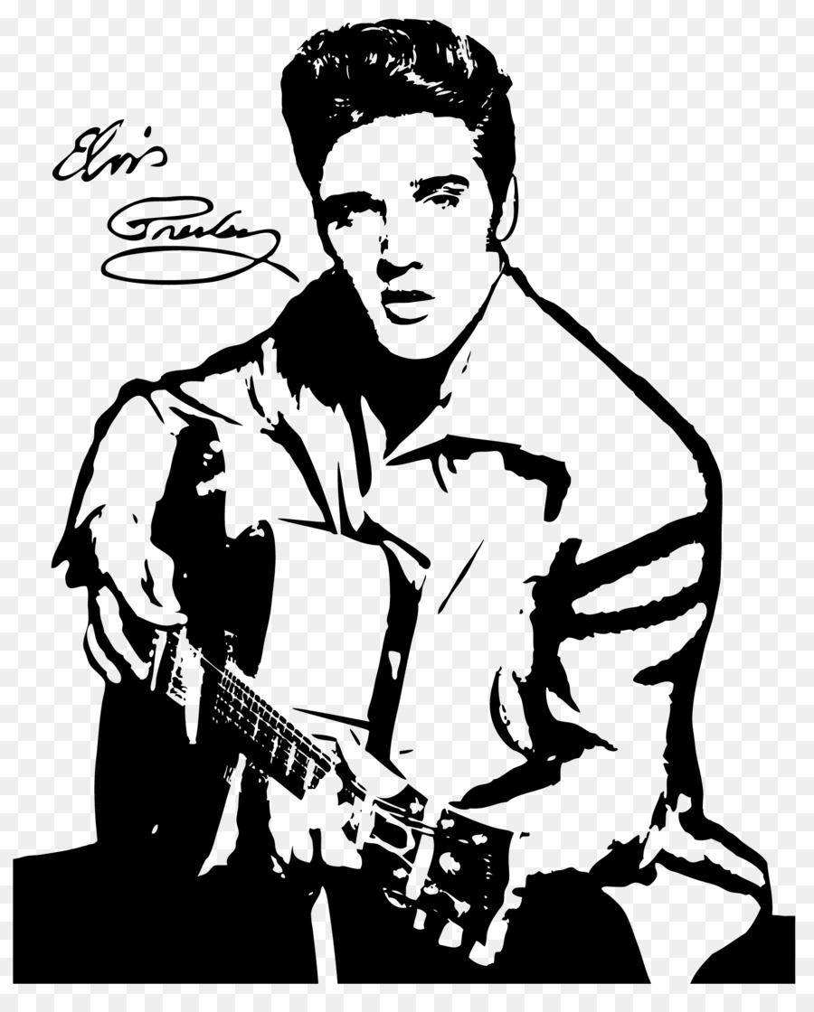 Elvis Presley Drawing Silhouette Black And White Clip Art