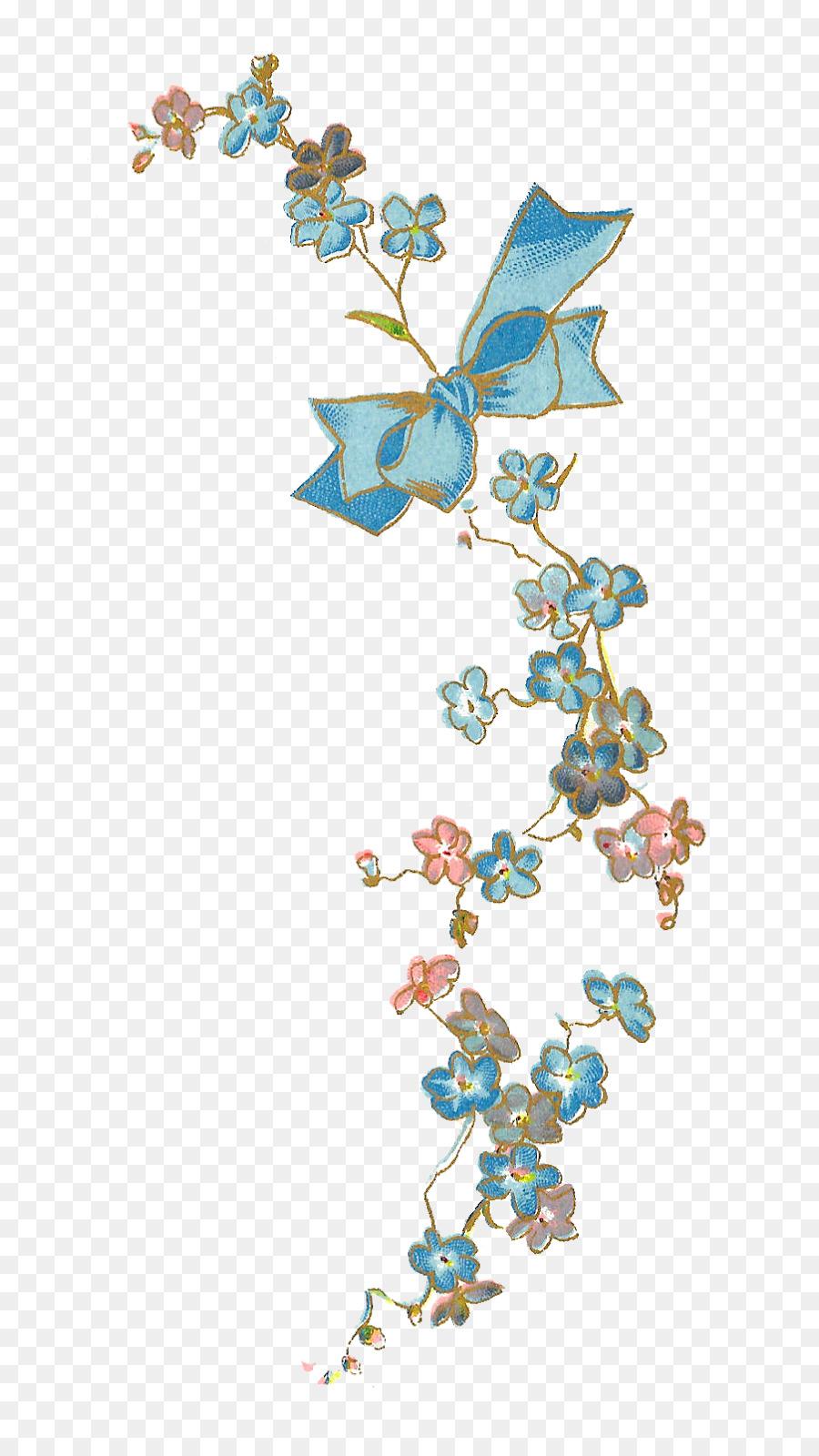 Flower Blue Scorpion Grasses Vintage Clothing Clip Art Blue Floral
