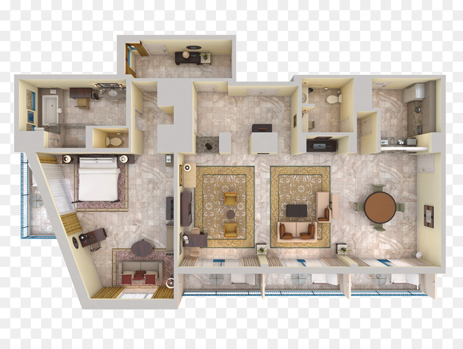 3D Floor Plan House   Bed Top View