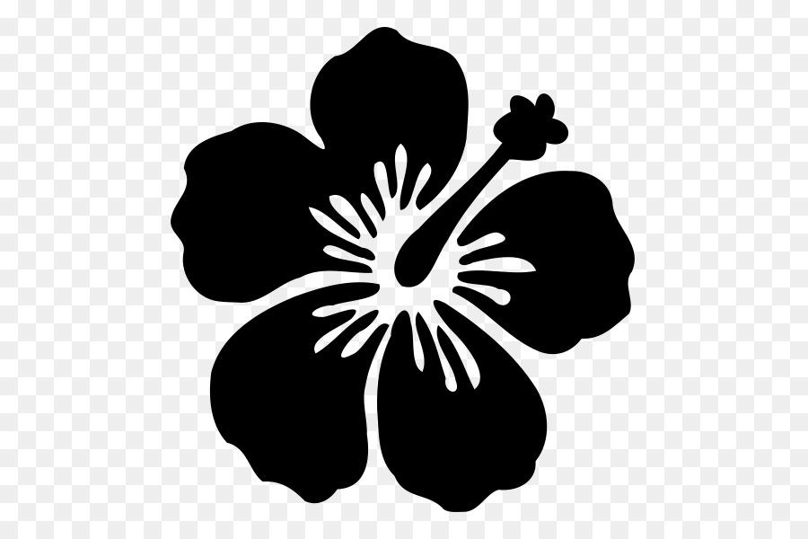Silhouette hawaiian hibiscus flower flower black