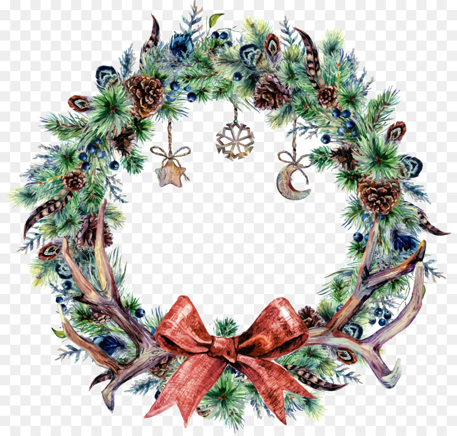 christmas wreath watercolor painting blue wreath - Blue Christmas Wreath