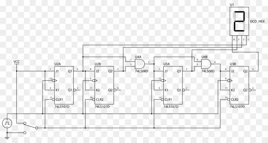 Circuit diagram Counter Schematic Electronic circuit 4-bit - COUNTER ...