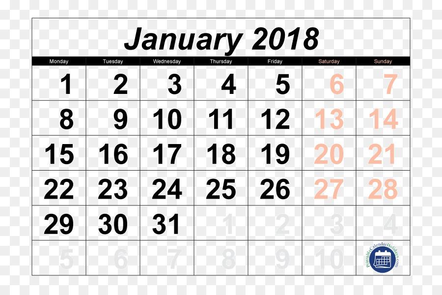 Calendar January Template Microsoft Excel Calendar 2018 Png