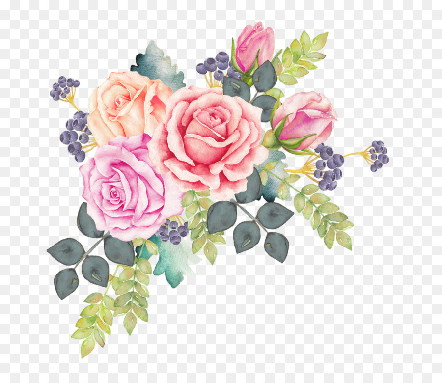 Bouquet Of Flowers Drawing Watercolor Flower Wreath Png Download