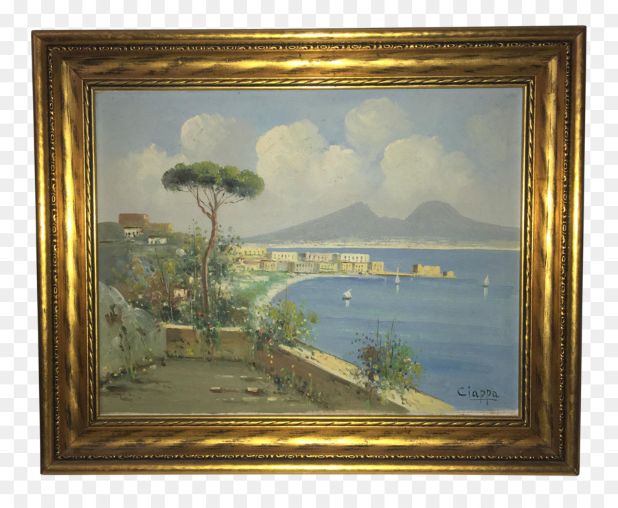 Harbour at Sunset Oil painting Still life - watercolor frame png ...