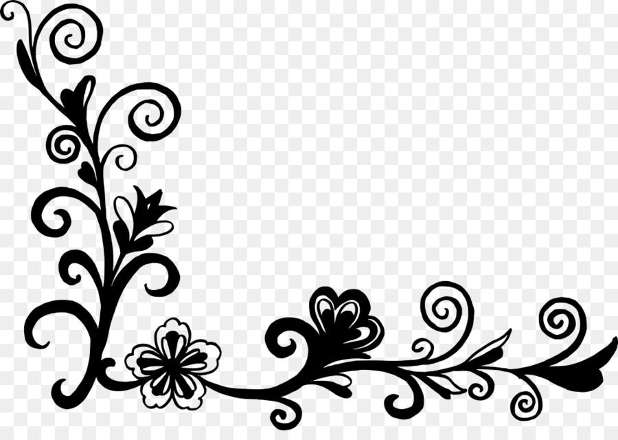 Flower Floral Design Black And White Clip Art Corner Png Download