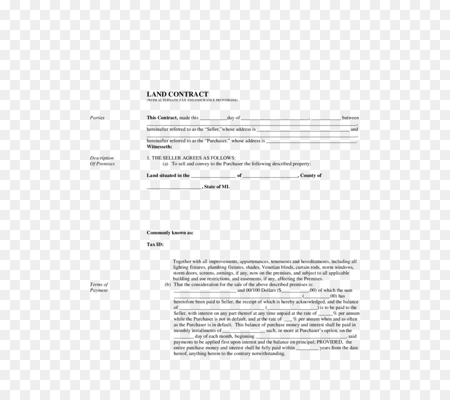 Land Contract Standard Form Contract Mortgage Loan Contract Png