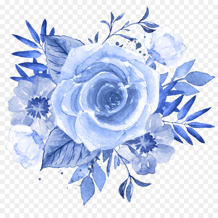Blue Flower Watercolor Painting Clip Art Blue Floral Png Download