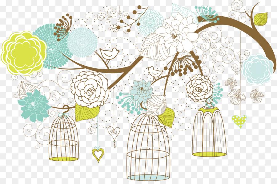 Wedding invitation Lovebird Paper Baby shower bird cage png