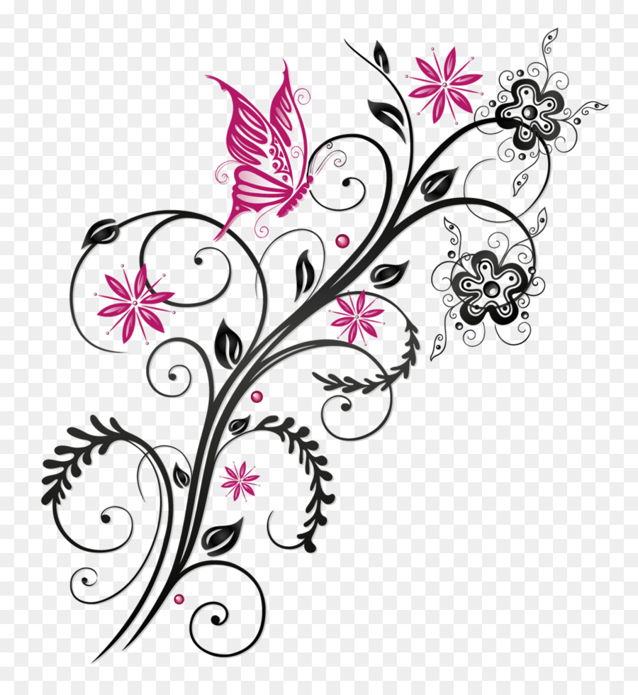 butterfly flower clip art floral ornament png download 1187 1280