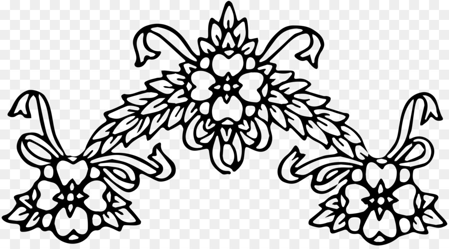 Flower Black And White Floral Design Clip Art Floral Wreath Png