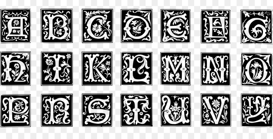 Illuminated Letters Alphabet Black And White