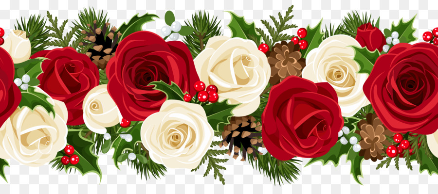 Rose Christmas Flower Garland Clip art - red rose border png ...